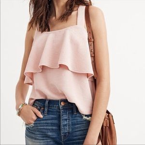 Madewell Texture & Thread Tiered Tank Top Pink